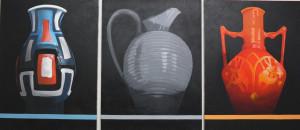 Hans Segers, Triptyque « Trois vases » 2013, 3 x 120 x 90 cm, huile sur toile
