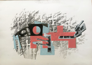 Réjane Lhote, TLV, WHITE CITY BAUHAUS II, 2019, collage, graphite, sérigraphie, craie grasse, 297 x 420 mm